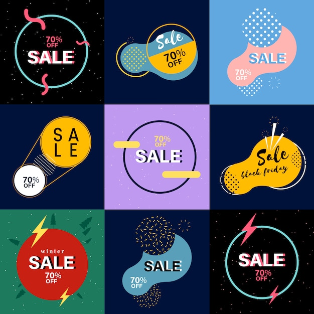 Sales banner collection Free Vector
