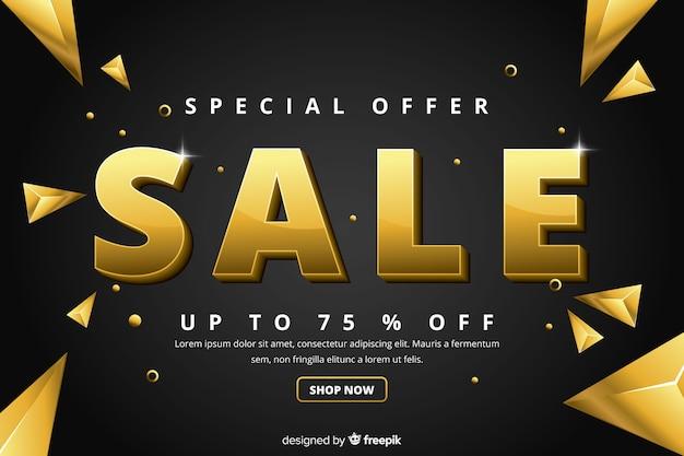 Sales banner in golden luxury style Free Vector