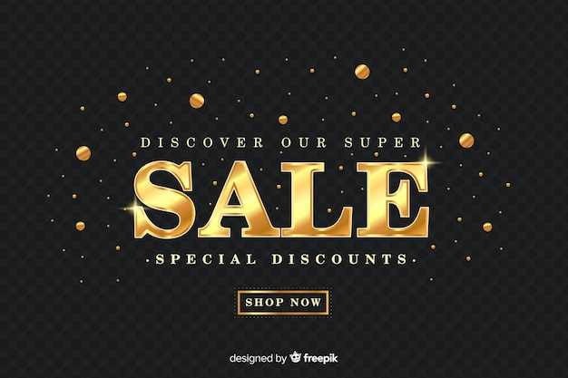 Sales banner in golden style Free Vector