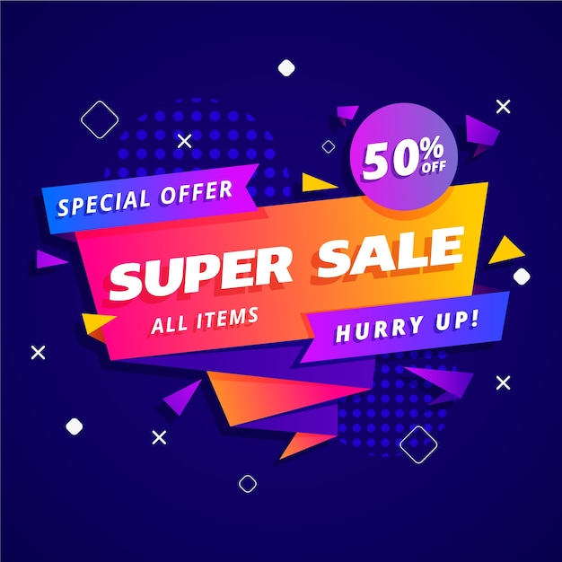 Sales banner in origami style concept Free Vector