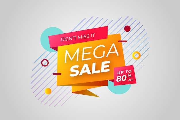 Sales banner in origami style and memphis effect Free Vector