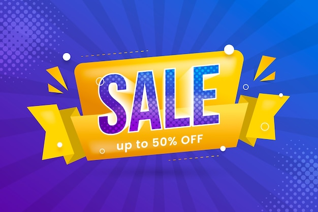 Sales banner in origami style and yellow ribbon Free Vector