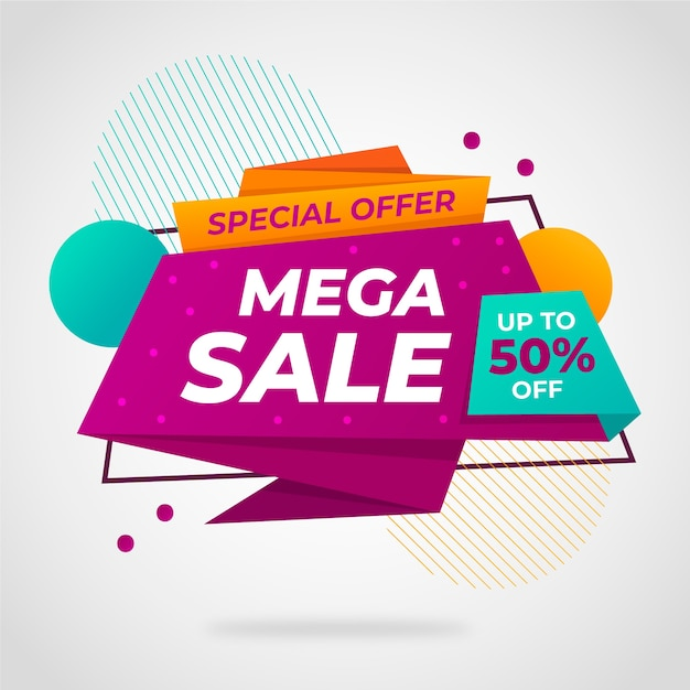 Sales banner in origami style Free Vector
