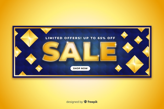 Sales banner template with golden elements Free Vector