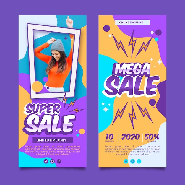 Sales  banners designs Free Vector
