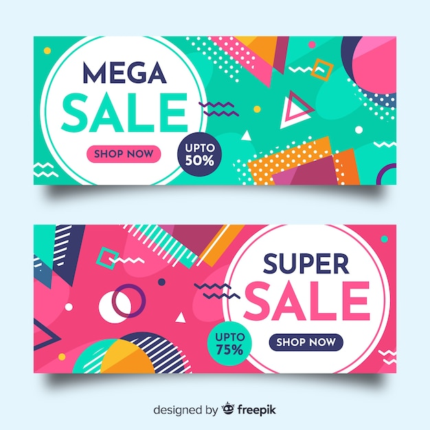 Sales banners in memphis style Free Vector