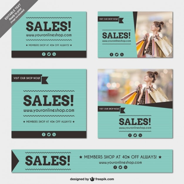 Sales banners templates pack Vector | Free Download