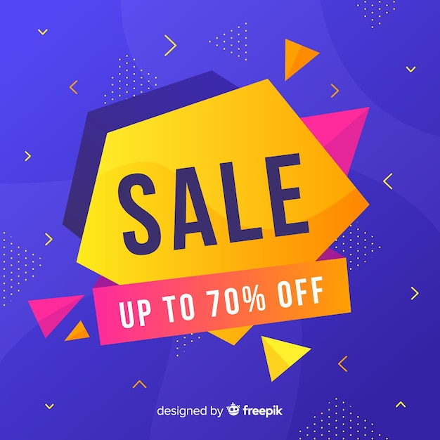 Sales banners with abstract colorful shapes Free Vector