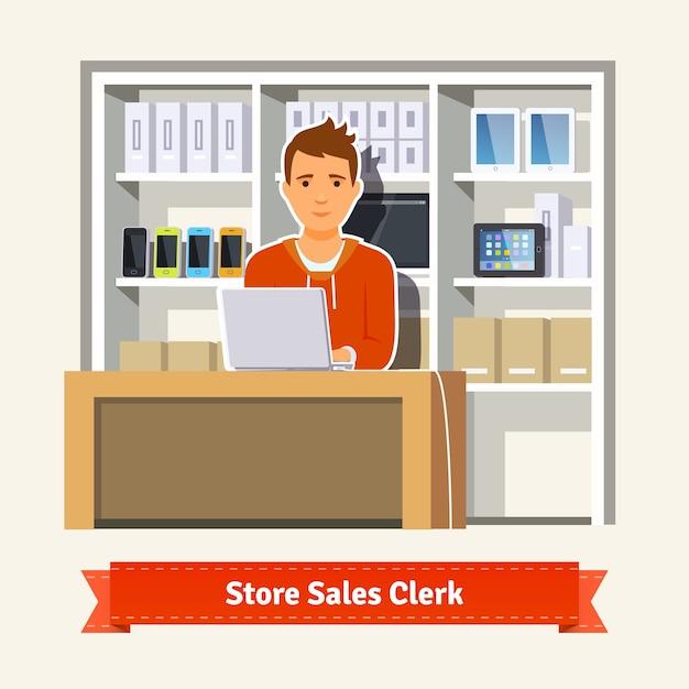 Sales clerk working with customers Free Vector