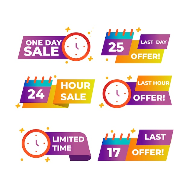 Sales countdown banner pack Free Vector
