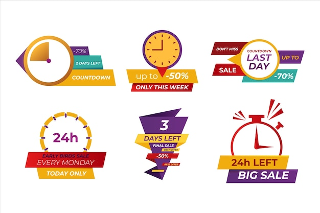 Sales countdown banner set Free Vector