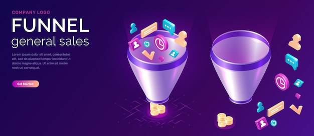 Sales funnel, isometric concept illustration Free Vector