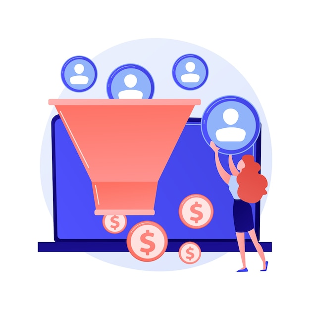 Sales funnel. lead generation, customer management, marketing strategy. commerce conversion flat design element. selling plan. clients filter concept illustration Free Vector