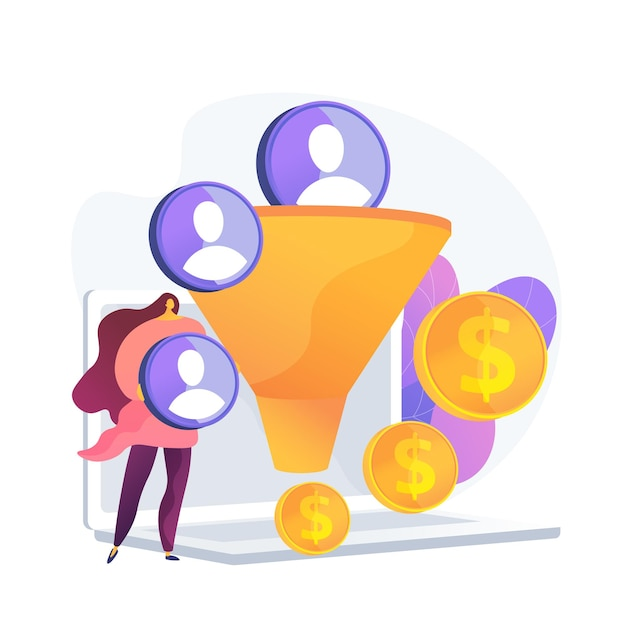 Sales funnel. lead generation, customer management, marketing strategy. commerce conversion flat design element. selling plan. clients filter. Free Vector