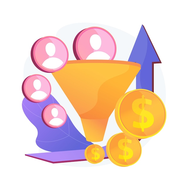 Sales funnel and lead generation. profitable digital marketing. customers attraction technology. commerce, trade, successful strategy. Free Vector