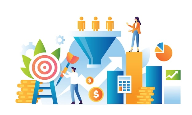 Sales funnel marketing illustration concept Premium Vector