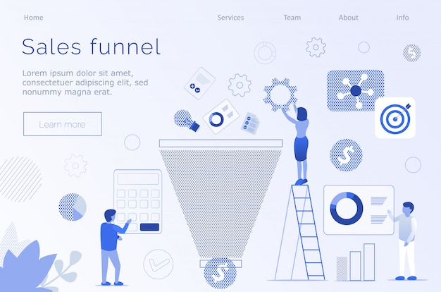 Sales funnel marketing metaphor editable text page Premium Vector