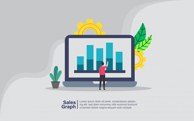 Sales graph with people character banner Premium Vector
