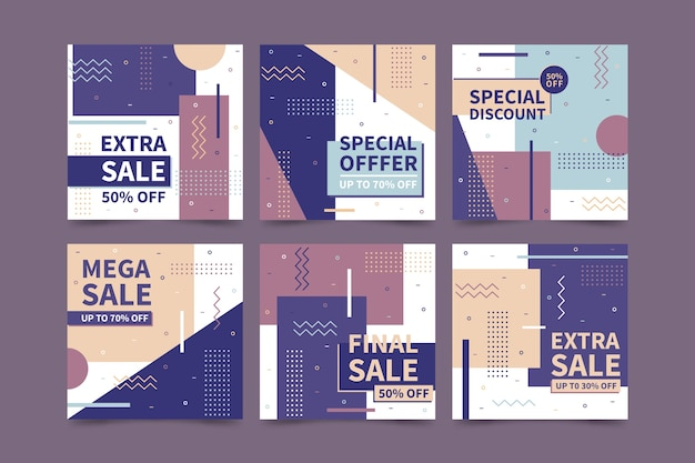 Sales instagram post collection Free Vector