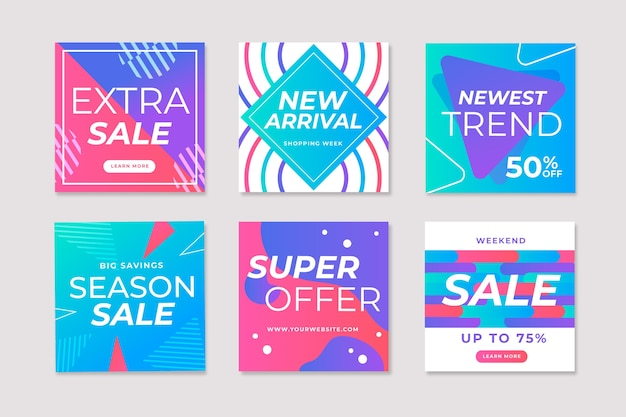 Sales instagram post set Free Vector