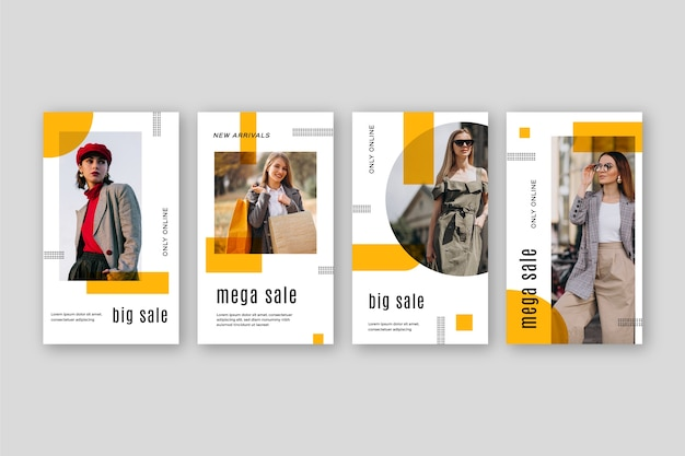 Sales instagram story collection Free Vector