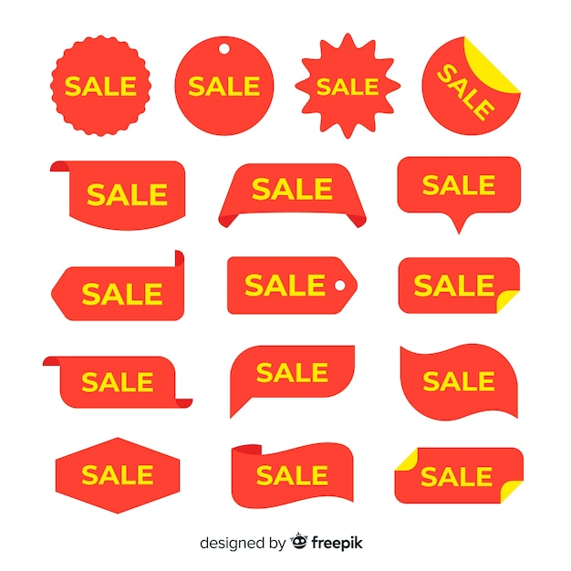 Sales label with yellow text collection Free Vector