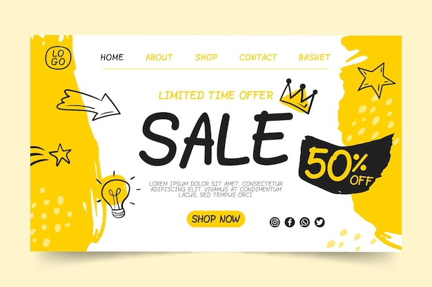 Sales landing page template Free Vector