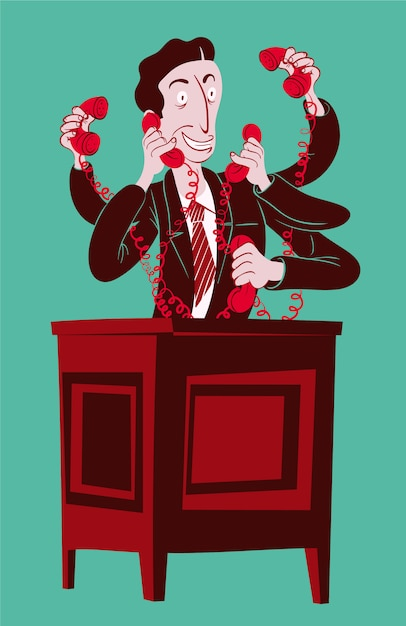 Sales man answering all the phones at the same time Premium Vector
