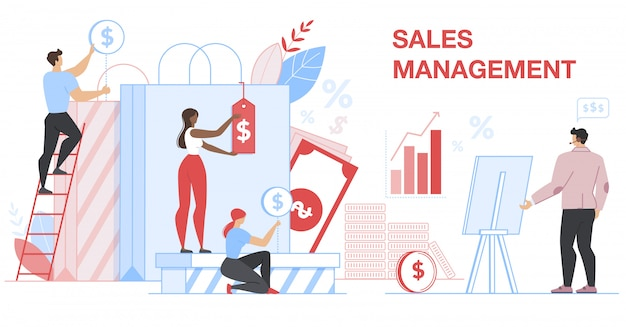 Sales management banner. financial statistic. Premium Vector