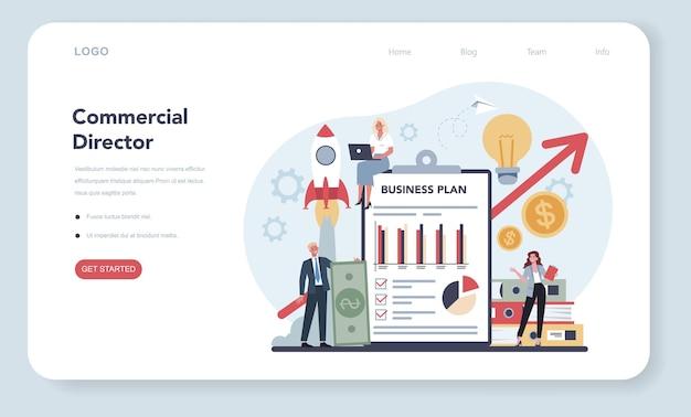 セールスマネージャーまたはコマーシャルディレクターのコンセプトのwebバナーまたはランディングページ。 Premiumベクター
