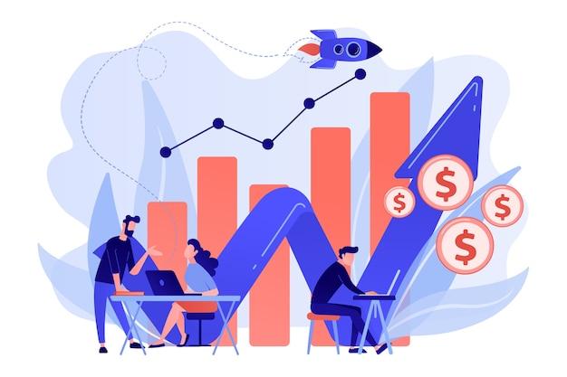 노트북 및 성장 차트가있는 영업 관리자. 판매 성장 및 관리자, 회계, 판매 촉진 및 운영 개념 흰색 배경에. 무료 벡터