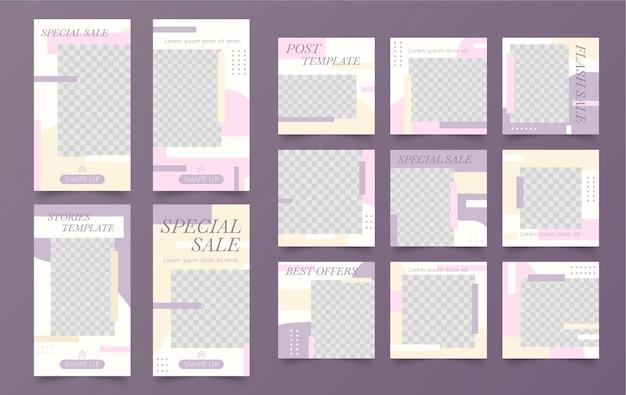 Modello di instagram minimalista nuovo post di vendita Vettore gratuito