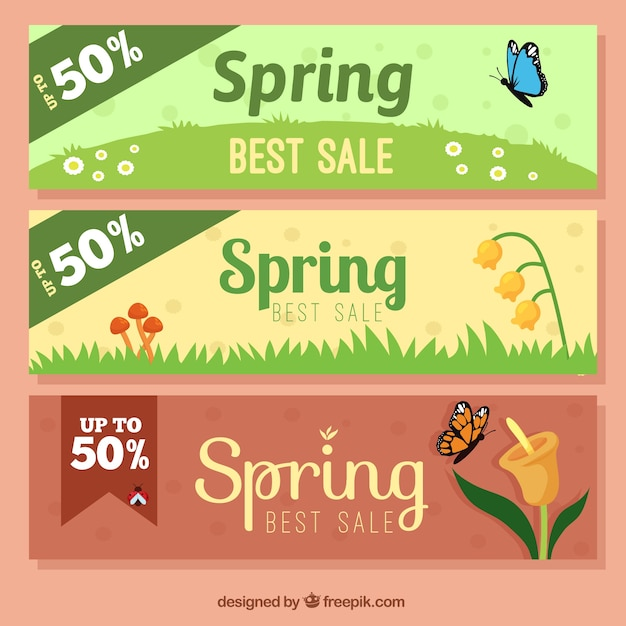 Sales spring banners
