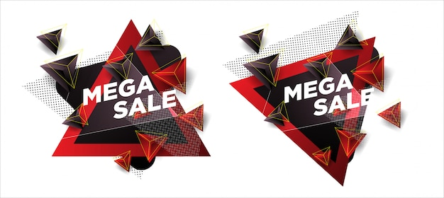 Sales templates with abstract triangle shapes Premium Vector