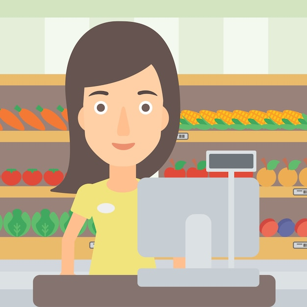 Saleslady standing at checkout. Premium Vector