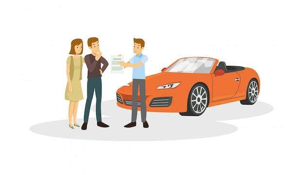 Salesman are offer to customer about the car are he sale Premium Vector