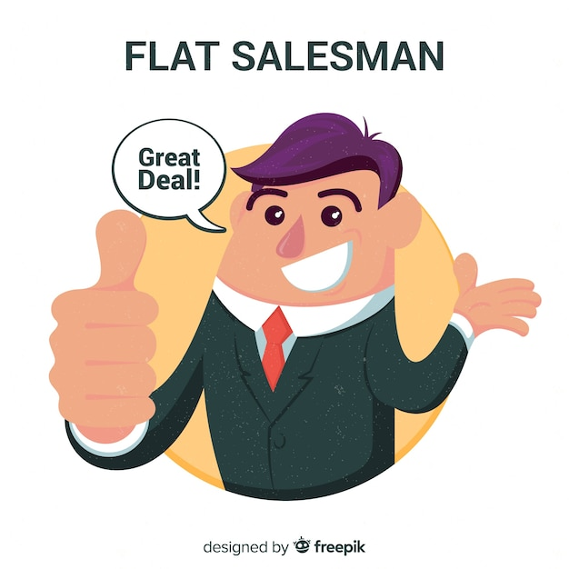Salesman background in flat design Free Vector