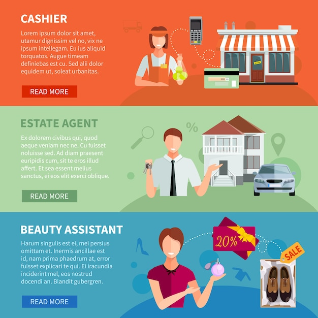 Salesman banners set of cashier with cash register estate agent with car and assistant Free Vector
