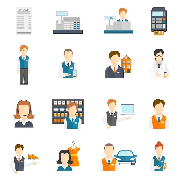 Salesman business figures icons flat set isolated vector illustration Free Vector