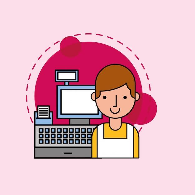 Salesman character with cash register Premium Vector