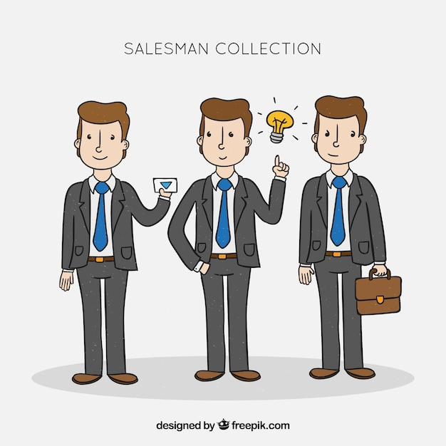 Salesman collection in different positions Free Vector