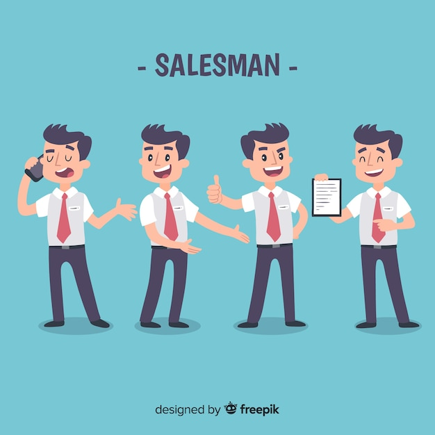 Salesman collection in different positions Premium Vector