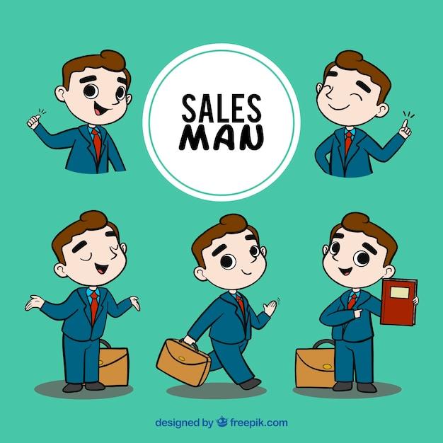 Collezione di venditori in diverse situazioni Vettore gratuito