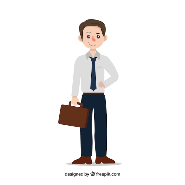 Salesman composition with flat design Free Vector