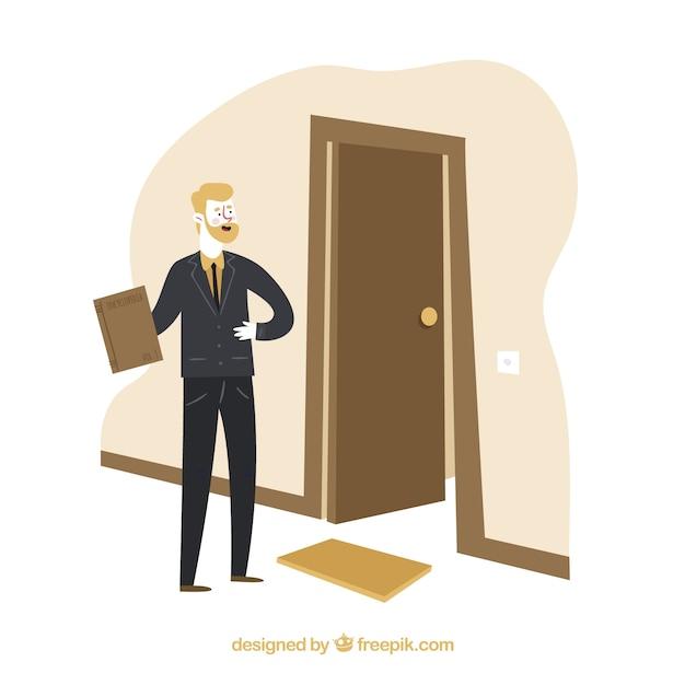 Salesman concept with door Free Vector