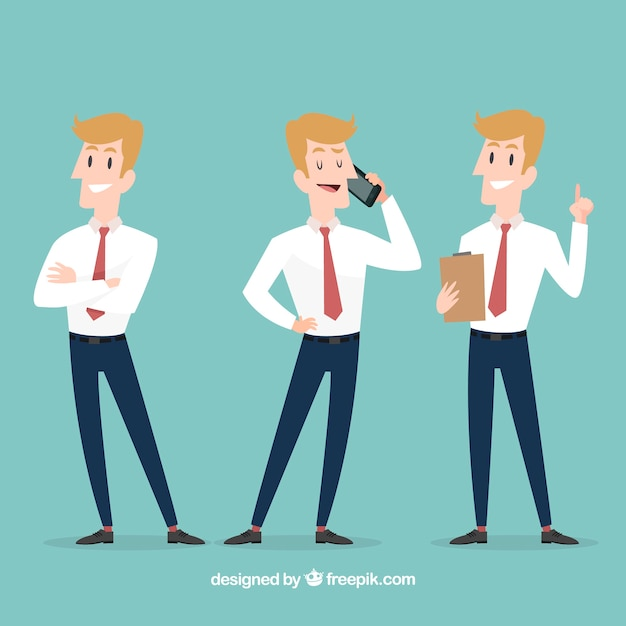 Salesman in different situations Free Vector