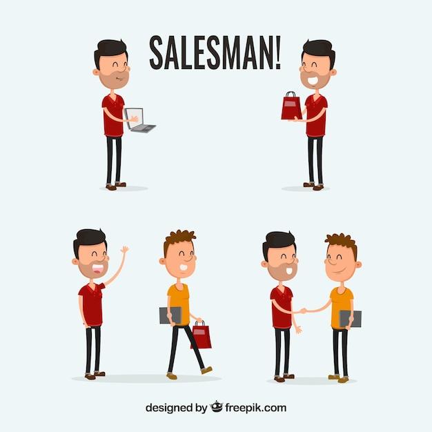Venditore in diverse situazioni Vettore gratuito