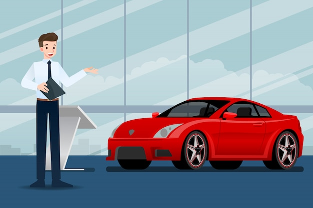 A salesman present  the car in the show room. Premium Vector