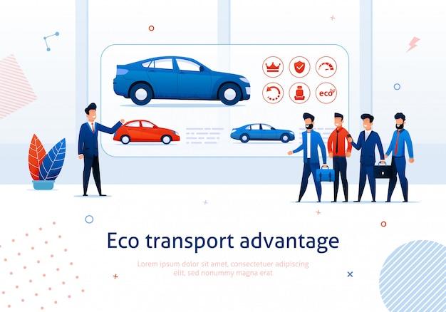 Salesman presentation to cartoon people electric car benefit Premium Vector