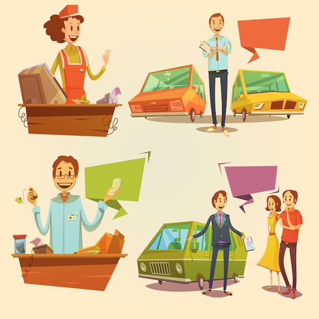Salesman retro cartoon set Free Vector